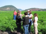 Tricia Hill discussing chipping potatoes and soil quality with guests at the Running Y Ranch.