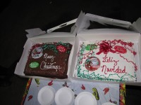 Two Christmas cakes at the Gold Dust shed Christmas luncheon.