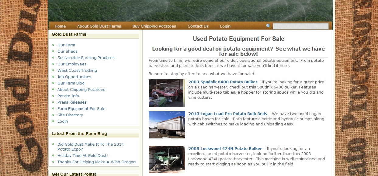 A snapshot of the Used Potato Equipment For Sale page from www.golddustfarms.com.